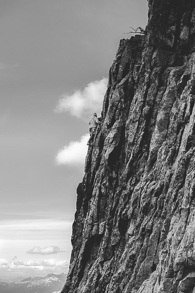 climbing chimney rock in Idaho