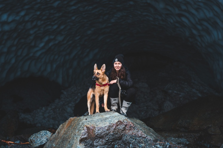 Honey and Taylor in the Big Four Ice Cave